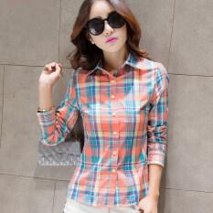 ขาย ซื้อ Berrykega เสื้อเชิ้ตแขนยาวลายสก๊อตคอปปก สไตล์ผู้หญิงเกาหลี สีส้มลายสก๊อต สีส้มลายสก๊อต