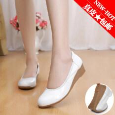 ราคา รองเท้าใส่ทำงานของผู้หญิง Lanyouna ปากตื้น รองเท้าส้นเตารีด สีขาว สีขาว เป็นต้นฉบับ Unbranded Generic