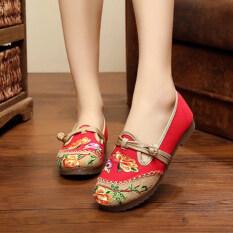 ทบทวน เก่าปักกิ่งปักแบนที่มีหญิงรองเท้าผ้ารองเท้าผ้า สีแดง