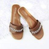 ส่วนลด รองเท้าแตะสไตล์มินิมอล ผ้าเรียบดีไซน์คาดโซ่ สีน้ำตาล Shoes By Naris ใน กรุงเทพมหานคร