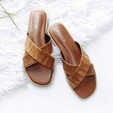 โปรโมชั่น รองเท้าแตะสไตล์มินิมอล ลายจระเข้เงา ดีไซน์ไขว้ สีน้ำตาล Shoes By Naris