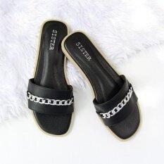 โปรโมชั่น รองเท้าแตะสไตล์มินิมอล ผ้าเรียบดีไซน์คาดโซ่ สีดำ Shoes By Naris
