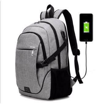 กระเป๋าโน๊ตบุ๊ค กระเป๋าคอมพิวเตอร์ กระเป๋าเป้สะพายหลัง สีเทา