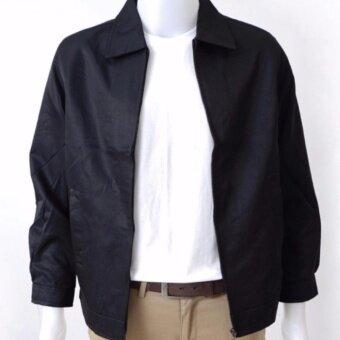 เสื้อแจ็กเก็ตสีดำคอปก