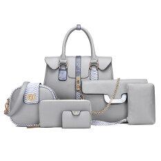 ซื้อ ขนาดใหญ่กระเป๋าแฟชั่นผู้หญิงกระเป๋าหนังลายนูนไหล่แบบพกพา สีเทา ฮ่องกง