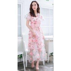 ซื้อ ชุดเดรสยาวสีชมพูแขนสั้นปักดอกไม้ ออนไลน์