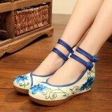 ซื้อ รองเท้าผ้าเก่าปักกิ่งดอกโบตั๋นดอกไม้รองเท้าส้นสูง ดอกโบตั๋นสีฟ้า ออนไลน์ ถูก