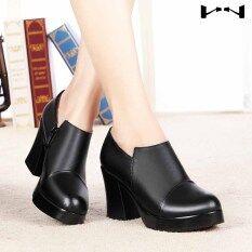 ราคา หนังหญิงชี้รองเท้านางสาวฤดูใบไม้ร่วงใหม่รองเท้า สีดำบวกกำมะหยี่ ใน ฮ่องกง