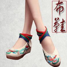 สมัยโบราณรองเท้าเก่ารองเท้าปักกิ่งรองเท้าส้นสูงเสื้อผ้าจีนฮั่น นกสีฟ้า สีเบจ ใหม่ล่าสุด