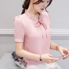 ราคา เสื้อบ้านเกาหลีชีฟองใหม่แขนสั้น หนังสีชมพูหัวเข็มขัดแขน Unbranded Generic เป็นต้นฉบับ