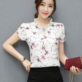 ซื้อ เสื้อบ้านเกาหลีชีฟองใหม่แขนสั้น สีขาวที่มีสีแดงดอกไม้บัวแขน ใหม่