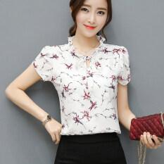 ขาย เสื้อบ้านเกาหลีชีฟองใหม่แขนสั้น สีขาวที่มีสีแดงดอกไม้บัวแขน ผู้ค้าส่ง