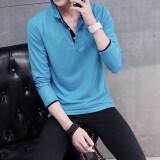 ราคา เสื้อยืดบุรุษแขนยาวปกพับเข้ารูปสไตล์เกาหลี ท้องฟ้าสีฟ้าสีดำคอ ใหม่