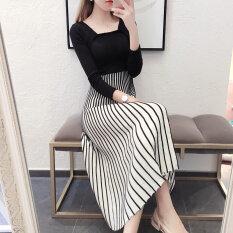 ซื้อ ใหม่หญิงแขนยาวชุดลายเสื้อกันหนาวถักชุด สีดำ Unbranded Generic