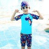 ราคา น้ำพุร้อนว่ายน้ำชุดว่ายน้ำขนาดเล็กชุดว่ายน้ำเด็กแยกนักมวย สีฟ้าไดโนเสาร์ ราคาถูกที่สุด