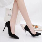 ซื้อ รองเท้าส้นสูง สไตล์สาวอเมริกัน ยุโรป เซ็กซี่ หัวแหลม ส้นสูง 10 เซนติเมตร มีหลายสี สีดำ สีดำ ถูก
