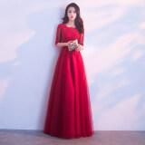 ราคา สีแดงใหม่บรรยากาศเจ้าสาวชุดราตรีขนมปังปิ้งเสื้อผ้า ไวน์แดง ถูก