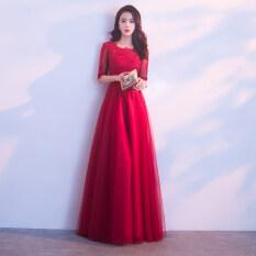 ขาย ซื้อ ออนไลน์ สีแดงใหม่บรรยากาศเจ้าสาวชุดราตรีขนมปังปิ้งเสื้อผ้า ไวน์แดง