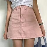 ราคา ราคาถูกที่สุด ออลจังเวอร์ชั่นเกาหลีผ้ายีนส์สีทึบในช่วงฤดูร้อนกระโปรงกระโปรงยีนส์ สีชมพู
