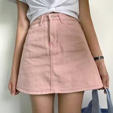 ซื้อ ออลจังเวอร์ชั่นเกาหลีผ้ายีนส์สีทึบในช่วงฤดูร้อนกระโปรงกระโปรงยีนส์ สีชมพู