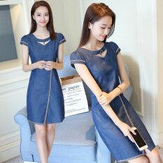ขาย หญิงไซส์พิเศษไซส์ใหญ่พิเศษผอมยีนส์กระโปรงผ้ายีนส์ชุดเดรส ผ้ายีนส์สีฟ้า เป็นต้นฉบับ
