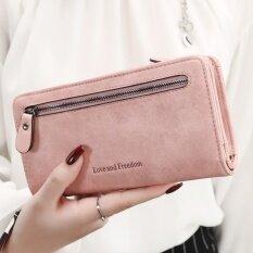 ขาย เกาหลีหญิงซิปกระเป๋าถือมัลติฟังก์ชั่นางสาวกระเป๋าสตางค์ สีชมพู ราคาถูกที่สุด
