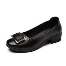 โปรโมชั่น รองเท้าสไตล์single Shoesของผู้หญิง รองเท้าพื้นนุ่ม ไซส์ใหญ่ สีดำ สีเทา สีแดง สีดำ สีดำ Other