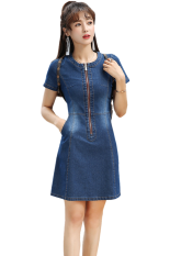 ขาย เกาหลียืดสลิมหลาใหญ่กระโปรงชุด ผ้ายีนส์สีฟ้า ราคาถูกที่สุด