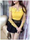 ขาย เสื้อผู้หญิงเกาะอก ทรงสลิม ปักดอกไม้สามมิติ คอลูกไม้ แขนยาว สีเหลือง สีเหลือง ออนไลน์ ฮ่องกง