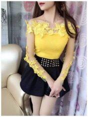 ราคา เสื้อผู้หญิงเกาะอก ทรงสลิม ปักดอกไม้สามมิติ คอลูกไม้ แขนยาว สีเหลือง สีเหลือง Unbranded Generic เป็นต้นฉบับ