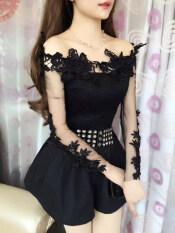 เสื้อผู้หญิงเกาะอก ทรงสลิม ปักดอกไม้สามมิติ คอลูกไม้ แขนยาว สีดำ สีดำ เป็นต้นฉบับ