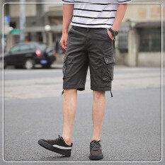 ราคา ผ้าฝ้ายชายหลายกระเป๋ากางเกงเครื่องมือชายกางเกงขาสั้น สีเทา ออนไลน์ ฮ่องกง