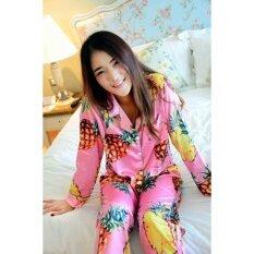 ซื้อ ชุดนอนผ้าซาตินแขนยาวขายาวลายสับปะรด Thailand