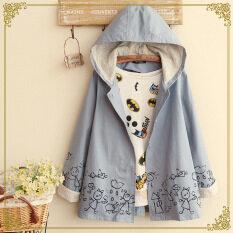 ราคา ญี่ปุ่นหลวมคลุมด้วยผ้าพิมพ์เสื้อคลุมเสื้อกันลมเสื้อบางๆ สีฟ้า ใหม่ ถูก