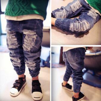 กางเกงเกาหลีกางเกงชายเด็กชาย (ด้านหน้าเย็บกางเกงยีนส์)