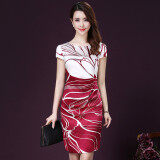 ราคา สง่างามเกาหลีหญิงผอมบางผ้าไหมกระโปรงฤดูร้อนใหม่ชุด สีแดง ถูก