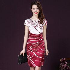 ซื้อ สง่างามเกาหลีหญิงผอมบางผ้าไหมกระโปรงฤดูร้อนใหม่ชุด สีแดง ใหม่ล่าสุด