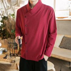 โปรโมชั่น จีนลมจีนสีทึบชายคอปกเสื้อเสื้อ ไวน์แดง ถูก