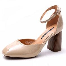 ส่วนลด ยุโรปและอเมริกาสีชมพูฤดูใบไม้ผลิใหม่หนากับรองเท้าส้นสูงรองเท้าทำงาน สีเบจสี Other ใน ฮ่องกง