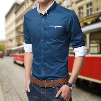 เสื้อเชิ้ตแขนสั้นผู้ชาย Dichuangzhe เสื้อลำลอง สไตล์เกาหลี (สีน้ำเงินเข้ม) (สีน้ำเงินเข้ม)