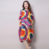 ส่วนลด สินค้า การแต่งกายลมชาติชุดเดรสผ้าฝ้ายหลวมไซส์พิเศษไซส์ใหญ่พิเศษ ดอกคำฝอย