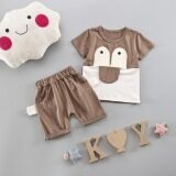 ขาย เด็กชายใหม่ทารกกในช่วงฤดูร้อนเสื้อผ้าเด็ก แขนสั้นลิ้นใหญ่สีกากี ราคาถูกที่สุด