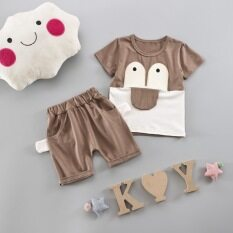 ราคา เด็กชายใหม่ทารกกในช่วงฤดูร้อนเสื้อผ้าเด็ก แขนสั้นลิ้นใหญ่สีกากี ใหม่ล่าสุด