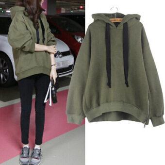 เสื้อกันหนาวหญิงแบบมีฮู้ด บุขนด้านใน สไตล์เกาหลี หนาพิเศษ สีขาว/สีเขียวทหาร (กองทัพสีเขียว) (กองทัพสีเขียว)