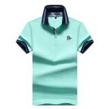 ขาย พอลเสื้อโปโลผ้าฝ้ายชุบเสื้อยืดสีทึบชายปก สีเขียวอ่อน ราคาถูกที่สุด