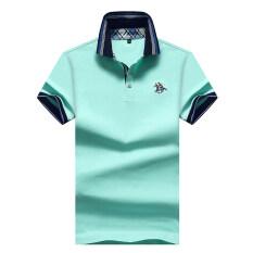 พอลเสื้อโปโลผ้าฝ้ายชุบเสื้อยืดสีทึบชายปก สีเขียวอ่อน ใหม่ล่าสุด