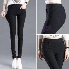 ราคา กางเกงรัดรูปสำหรับผู้หญิงขายาว 9 ส่วน ไซส์ใหญ่ สีดำ สีดำ ใหม่