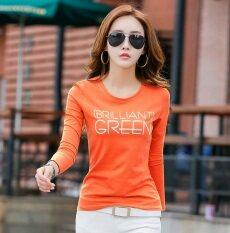 โปรโมชั่น เสื้อยืดผู้หญิง ผ้าฝ้าย แขนยาว ทรงสลิม พิมพ์ลายตัวอักษร สไตล์เกาหลี สีส้ม สีส้ม Unbranded Generic