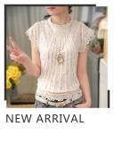 ส่วนลด สินค้า เสื้อเย็บใหม่หญิงแขนสั้นลูกไม้ แขนสั้นสีขาว