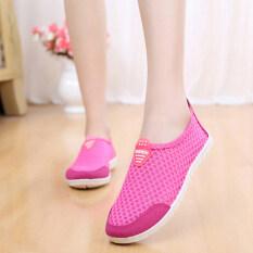 ซื้อ ขี้เกียจรองเท้าเก่าปักกิ่งรองเท้าผ้าระบายอากาศตาข่ายแบนนางสาว สีชมพูเหยียบ ถูก ใน ฮ่องกง